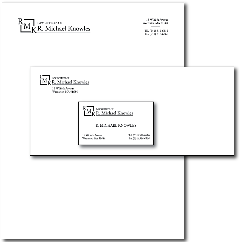 R.Michael Knowles Stationery Layout