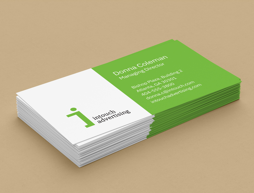 green and white business cards